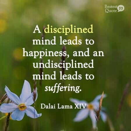 A disciplined mind leads to happiness and an undisciplined mind leads to suffering. Dalai Lama