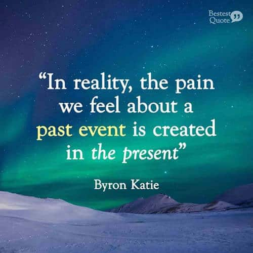 In reality, the pain we feel about a past event is created in the present. Byron Katie