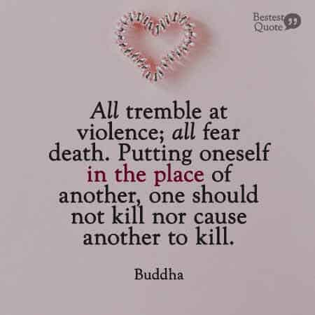 Putting oneself in the place of another, one should not kill nor cause another to kill. Buddha