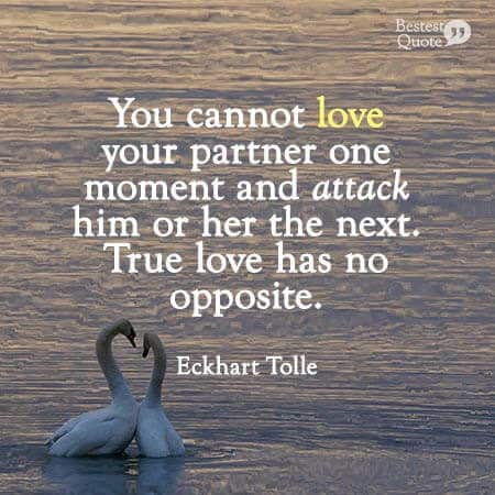 """""""You cannot love your partner one moment and attack him or her the next. True love has no opposite."""" Eckhart Tolle"""
