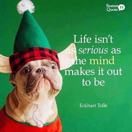 """""""Life isn't as serious as the mind makes it out to be."""" Eckhart Tolle"""