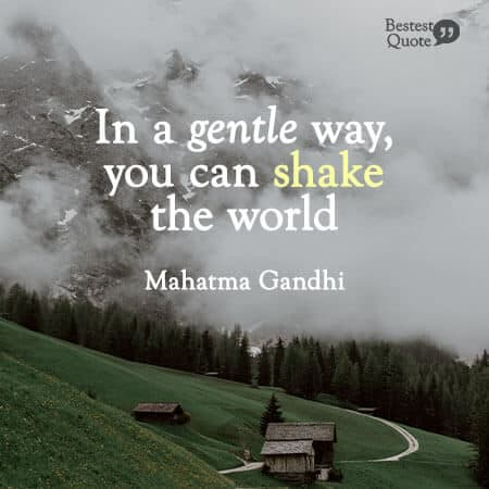"""In a gentle way, you can shake the world."" Mahatma Gandhi"
