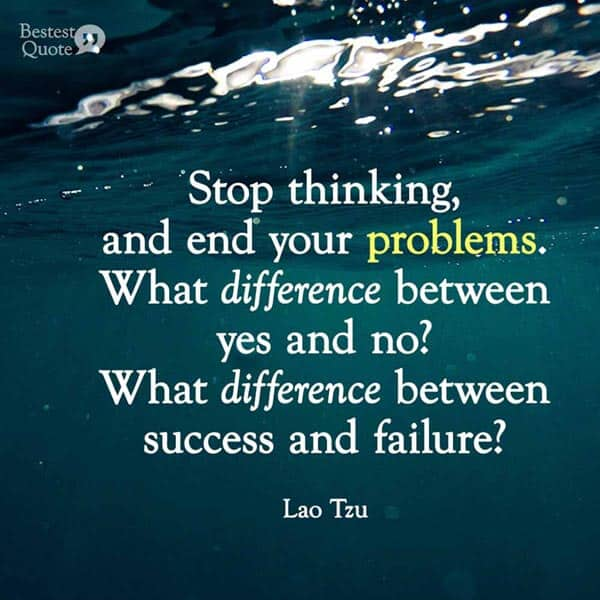 """""""Stop thinking, and end your problems. What difference between yes and no? What difference between success and failure? Must you value what others value, avoid what others avoid?"""" Lao Tzu"""