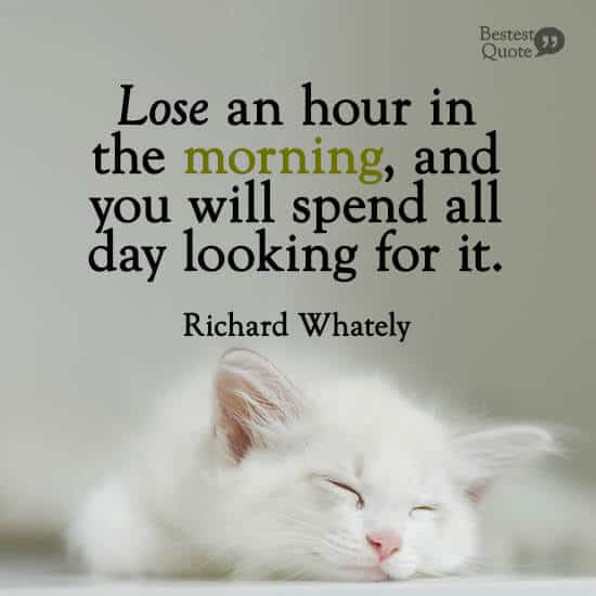 """""""Lose an hour in the morning, and you will spend all day looking for it."""" Richard Whately"""