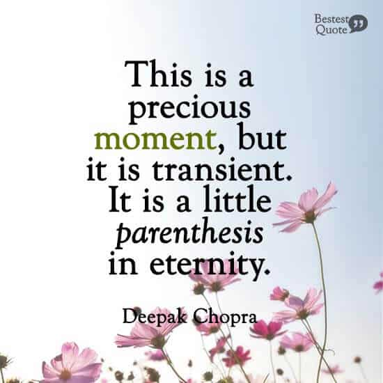 """""""This is a precious moment, but it is transient. It is a little parenthesis in eternity."""" Deepak Chopra"""