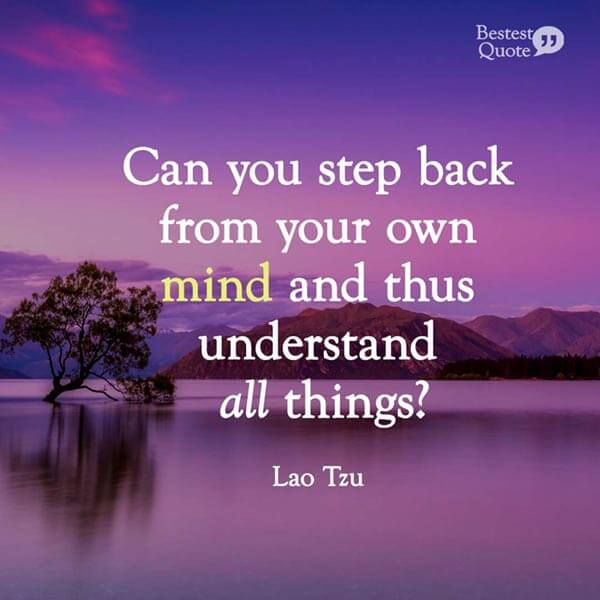 """""""Can you step back from your own mind and thus understand all things?"""" Lao Tzu"""