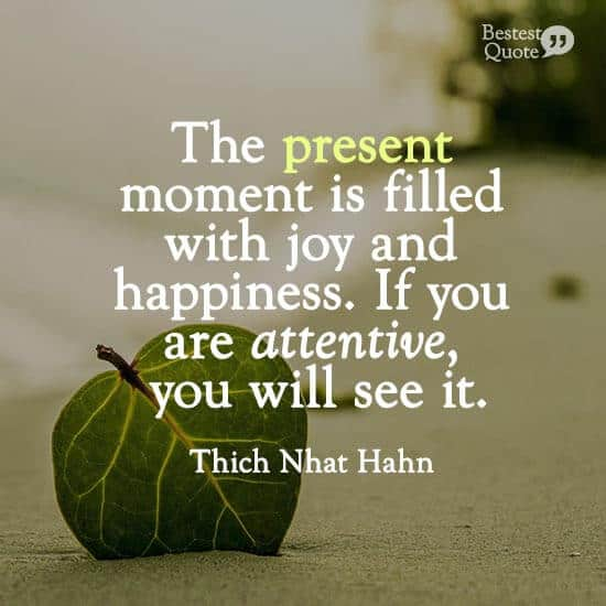 """""""The present moment is filled with joy and happiness. If you are attentive, you will see it."""" Thich Nhat Hahn"""